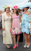 KILLARNEY RACES THURSDAY 16-7-09: Pictured at the Dawn Dairies Queen of Fashion Day at Killarney races on Thursday were from left, Eileen Kennedy, Caragh lake, naoimi and Mary Kelliher, Killorglin.<br /> Picture by Don MacMonagle