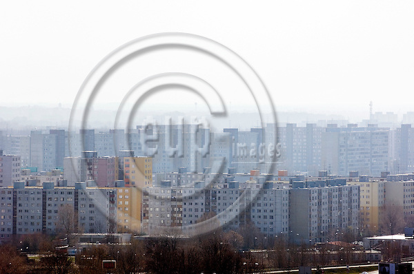 """BRATISLAVA - SLOVAKIA 11. MARCH 2007 -- A panoramic view of block of flats in a residential area in the outskirts of Bratislava  -- PHOTO: GORM K. GAARE / EUP & IMAGES..This image is delivered according to terms set out in """"Terms - Prices & Terms"""". (Please see www.eup-images.com for more details)"""