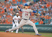 New York Mets starting pitcher Noah Syndergaard (34) works in the first inning against the Baltimore Orioles at Oriole Park at Camden Yards in Baltimore, Maryland on Wednesday, August 19, 2015.  The Orioles won the game 5 - 4.<br /> Credit: Ron Sachs / CNP<br /> (RESTRICTION: NO New York or New Jersey Newspapers or newspapers within a 75 mile radius of New York City)