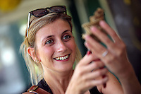 Pictured: Ellie Robert willow weaving Saturday 13 August 2016<br />Re: Grow Wild event at  Furnace to Flowers site in Ebbw Vale, Wales, UK