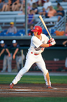 Auburn Doubledays right fielder Nick Banks (34) at bat during a game against the Vermont Lake Monsters on July 12, 2016 at Falcon Park in Auburn, New York.  Auburn defeated Vermont 3-1.  (Mike Janes/Four Seam Images)