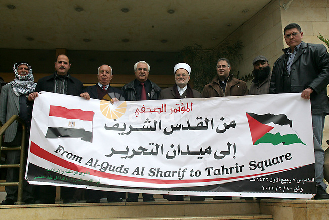Palestinians attend a press conference to solidarity with the Egyptian people, in Jerusalem, on Feb. 10,2011. Photo by Mahfouz Abu Turk