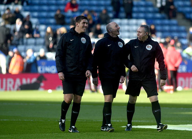 Referee Mike Dean during the pre-match warm-up  with assistant referees Ian Hussin and Darren Cann<br /> <br /> Photographer Hannah Fountain/CameraSport<br /> <br /> The Premier League - Leicester City v Manchester United - Sunday 3rd February 2019 - King Power Stadium - Leicester<br /> <br /> World Copyright © 2019 CameraSport. All rights reserved. 43 Linden Ave. Countesthorpe. Leicester. England. LE8 5PG - Tel: +44 (0) 116 277 4147 - admin@camerasport.com - www.camerasport.com