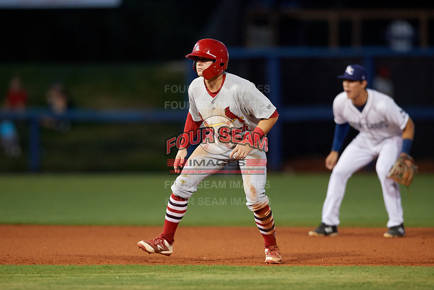 Palm Beach Cardinals second baseman Andy Young (15) leads off second base during a game against the Charlotte Stone Crabs on April 20, 2018 at Charlotte Sports Park in Port Charlotte, Florida.  Charlotte defeated Palm Beach 4-3.  (Mike Janes/Four Seam Images)