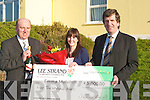 GIVE-AWAY: Emma Mulvihill, Shanara Cross, Killorglin, who was the lucky winner of the Lee Strand January EUR5,000 monthly give-away, was presented with her cheque on Tuesday outside Lee Strand Offices, Ballymullen, by Jerry O'Dwyer (production manager) and Tim O'Keeffe (financial controller).   Copyright Kerry's Eye 2008