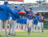 New York Mets right fielder Curtis Granderson (3) celebrates his team's 6 - 3 victory over the Washington Nationals at Nationals Park in Washington, D.C. on Thursday, April 9, 2015.  <br /> Credit: Ron Sachs / CNP<br /> (RESTRICTION: NO New York or New Jersey Newspapers or newspapers within a 75 mile radius of New York City)
