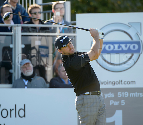 16.10.2014. The London Golf Club, Ash, England. The Volvo World Match Play Golf Championship.  Day 2 group stage matches.  Graeme McDowell [NIR] on the first tee.