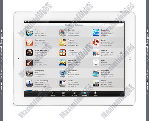 Apple iPad 2 tablet computer with app store categories on its display. Isolated with clipping path on white background.