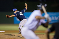 Asheville Tourists relief pitcher Justin Lawrence (27) in action against the Kannapolis Intimidators at Intimidators Stadium on May 28, 2016 in Kannapolis, North Carolina.  The Intimidators defeated the Tourists 5-4 in 10 innings.  (Brian Westerholt/Four Seam Images)