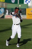 Wisconsin Timber Rattlers infielder Luis Aviles (11) warms up prior to a Midwest League game against the Great Lakes Loons on April 26th, 2016 at Fox Cities Stadium in Appleton, Wisconsin.  Wisconsin defeated Great Lakes 4-3. (Brad Krause/Four Seam Images)