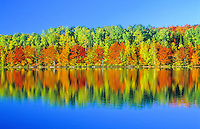 Fall colors reflect on the water of Moccasin Lake in Michigan's Upper Peninsula's Hiawathwa National Forest, in Alger County, Michigan.