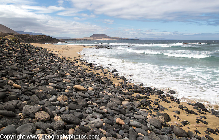 Coastal scenery beach on west coast of Graciosa island, Lanzarote, Canary Islands, Spain