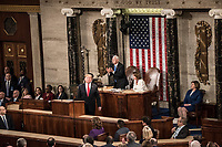 Washington DC, February 5, 2019, USA: President Donald J Trump gives his second State of the Union (SOTU) address as President.  House Speaker Nancy Pelosi and Vice President Mike Pence sit behind him in the US Capitol House of Representatives.<br /> CAP/MPI/PYL<br /> ©PYL/MPI/Capital Pictures