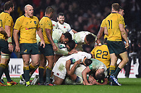 England players celebrate a try from Jonathan Joseph. Old Mutual Wealth Series International match between England and Australia on November 18, 2017 at Twickenham Stadium in London, England. Photo by: Patrick Khachfe / Onside Images