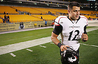 PITTSBURGH, PA - NOVEMBER 05: Zach Collaros #12 of the Cincinnati Bearcats runs off the field  following their win against the Pittsburgh Panthers on November 5, 2011 at Heinz Field in Pittsburgh, Pennsylvania.  (Photo by Jared Wickerham/Getty Images)
