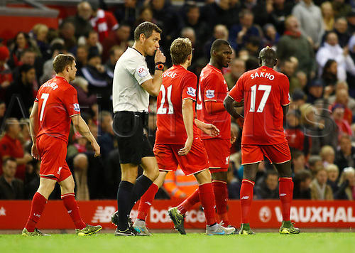 25.10.2015. Anfield, Liverpool, England. Barclays Premier League. Liverpool versus Southampton. Liverpool striker Christian Benteke is congratulated by his team mates after scoring his team's first goal.