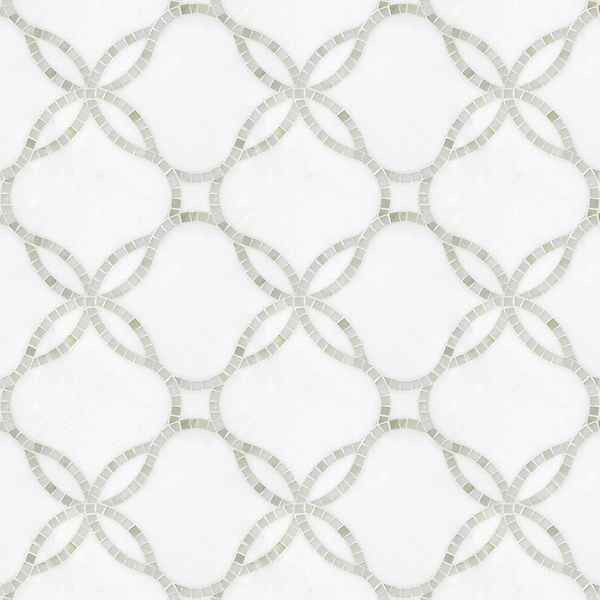 Waverly, a handcut and waterjet stone mosaic shown in polished Calacatta Tia  and honed Thassos, is part of the Silk Road Collection by Sara Baldwin for New Ravenna. <br />