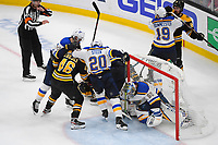 June 6, 2019: St. Louis Blues goaltender Jordan Binnington (50) makes a save during game 5 of the NHL Stanley Cup Finals between the St Louis Blues and the Boston Bruins held at TD Garden, in Boston, Mass. The Blues defeat the Bruins 2-1 in regulation time. Eric Canha/CSM