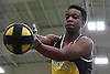 Wonder Louis of Uniondale gets ready to make a weight throw during the event's Nassau County championship and state qualifier at St. Anthony's High School on Monday, Feb. 6, 2017.