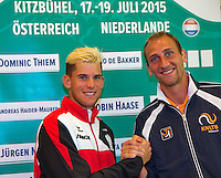 Austria, Kitzbuhel, Juli 16, 2015, Tennis, Davis Cup, Draw, First match on friday: Dominic Thiem (AUT) vs Thiemo de Bakker (NED) (R)<br /> Photo: Tennisimages/Henk Koster