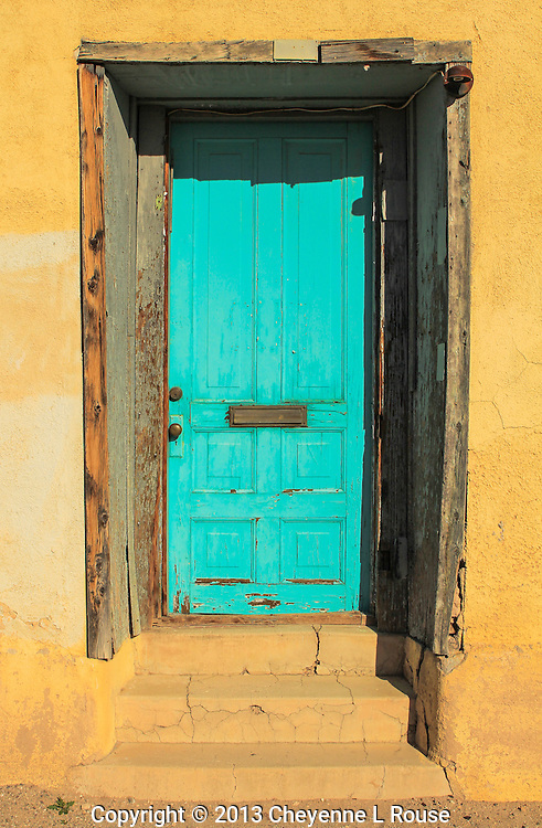 100 year old adobe with Turquoise door - Arizona