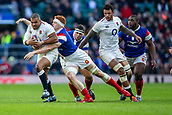 10th February 2019, Twickenham Stadium, London, England; Guinness Six Nations Rugby, England versus France; Felix Lambey of France tackles Kyle Sinckler of England