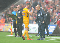 Preston North End manager Alex Neil relays instruction to Andrew Hughes<br /> <br /> Photographer Kevin Barnes/CameraSport<br /> <br /> The EFL Sky Bet Championship - Swansea City v Preston North End - Saturday August 11th 2018 - Liberty Stadium - Swansea<br /> <br /> World Copyright &copy; 2018 CameraSport. All rights reserved. 43 Linden Ave. Countesthorpe. Leicester. England. LE8 5PG - Tel: +44 (0) 116 277 4147 - admin@camerasport.com - www.camerasport.com