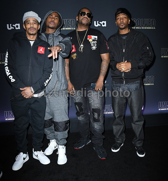 "22 February 2018 - Hollywood, California - Bone Thugs-N-Harmony. USA Network's ""Unsolved: The Murders of Tupac & The Notorious B.I.G."" held at Avalon Hollywood. Photo Credit: Birdie Thompson/AdMedia"