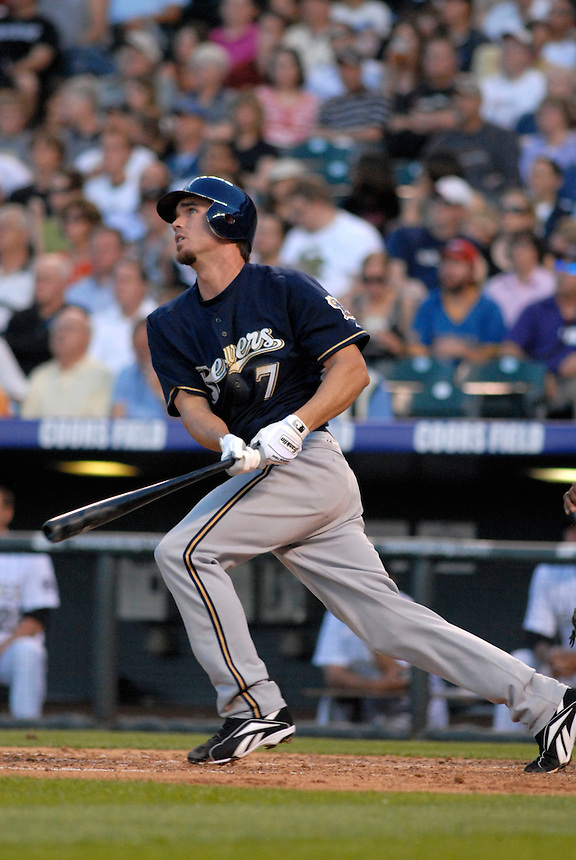 06 June 08: Milwuakee Brewers shortstop J.J. Hardy watches the flight of a homerun hit against the Colorado Rockies. The Rockies defeated the Brewers 6-4 at Coors Field in Denver, Colorado on June 6, 2008. For EDITORIAL use only