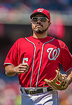 26 April 2014: Washington Nationals infielder Anthony Rendon returns to the dugout during a game against the San Diego Padres at Nationals Park in Washington, DC. The Nationals shut out the Padres 4-0 to take the third game of their 4-game series. Mandatory Credit: Ed Wolfstein Photo *** RAW (NEF) Image File Available ***