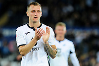 Ben Wilmot of Swansea City applauds the fans at the final whistle during the Carabao Cup Second Round match between Swansea City and Cambridge United at the Liberty Stadium in Swansea, Wales, UK. Wednesday 28, August 2019.