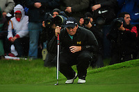 Shane Lowry lines up his putt on the 18th green during the Final Round of the 3 Irish Open on 17th May 2009 (Photo by Eoin Clarke/GOLFFILE)