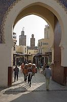 Afrique/Afrique du Nord/Maroc/Fèz: Médina de Fèz-El-Bali la Porte Bleue donne accés à l'intérieur de la medina