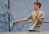 Tyler Meyers of St. Anthony's returns a volley in the second doubles match of the NSCHSAA varsity boys tennis team championship against Chaminade at Hofstra University on Tuesday, May 10, 2016. Sangirardi won the match to help Chaminade to the league title.