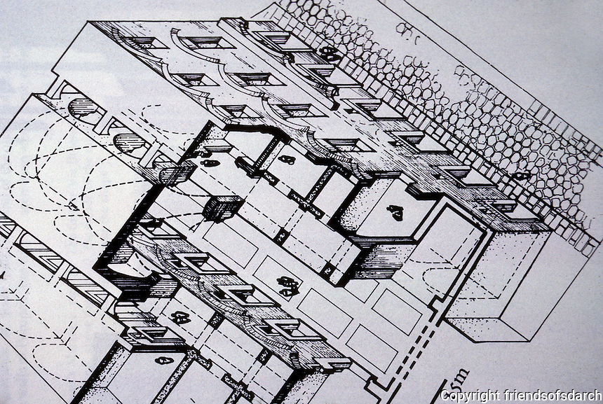 Italy: Rome--Plan of Trajan's Market--main market hall.  Reference only. Photo '87.