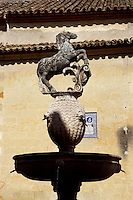 Fountain crowned by el Potro, statue of a young horse, 16th century, The Square of the Colt (La Plaza del Potro), Cordoba, Andalusia, Spain. Cervantes immortalised this square in Don Quixote de la Mancha, referring to it as a den of thieves. Picture by Manuel Cohen