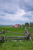 Gettysburg National Military Park, PA<br /> Split rail fence on the High Water Mark Trail with the Codori farm in the distance