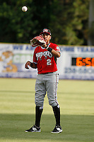 Carolina Mudcats infielder Johan Camargo (2) throwing in the outfield before a game against the Myrtle Beach Pelicans at Ticketreturn.com Field at Pelicans Ballpark on June 4, 2015 in Myrtle Beach, South Carolina. Carolina defeated Myrtle Beach 3-2. (Robert Gurganus/Four Seam Images)