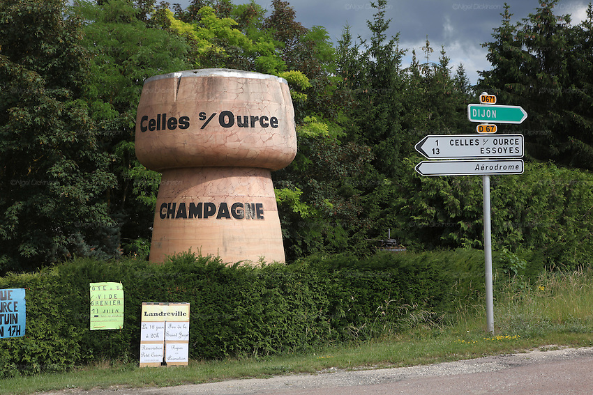 Champagne cork sculpture, Celles-Sur-Ource..A new generation of vignerons around Troyes, city of the Aube, the forgotten region of Champagne, France. These new, but not necessarily young, producers, make Champagnes that are in many ways anti-Champagnes. Where Champagne for a century has made a myth of the art of blending, in which the usual distinctions of terroir, grape and vintage disappear into the house blend, these producers take a Burgundian approach to making Champagne, emphasizing all these qualities that are taken for granted as important in other regions but are largely ignored in Champagne. In a sense they each are a microcosm for larger changes taking place throughout the Champagne region, not just in the Cote des Bars, and for changing perceptions of Champagne on the part of American consumers