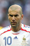 09 July 2006: Zinedine Zidane (FRA).  Italy defeated France in a penalty kick shoot-out at the Olympiastadion in Berlin, Germany in match 64, the championship game, of the 2006 FIFA World Cup Finals.