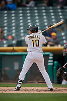 Jose Briceno (10) of the Salt Lake Bees bats against the Albuquerque Isotopes at Smith's Ballpark on April 8, 2018 in Salt Lake City, Utah. Albuquerque defeated Salt Lake 11-4. (Stephen Smith/Four Seam Images)