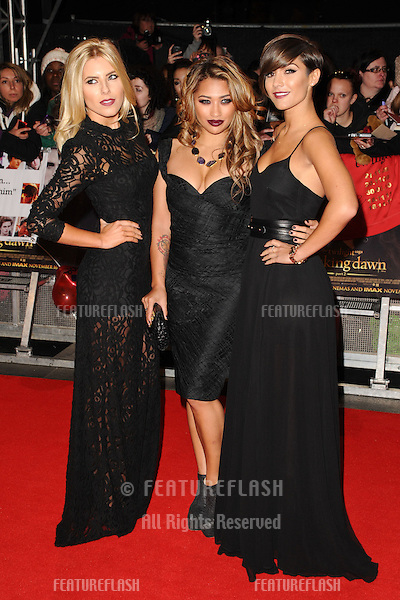 "Mollie King, Vanessa White and Frankie Sanford arriving for the ""The Twilight Saga: Breaking Dawn Part 2"" premiere at the Odeon Leicester Square, London. 14/11/2012 Picture by: Steve Vas / Featureflash"