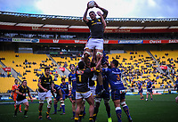 Vaea Fifita takes lineout ball during the Mitre 10 Cup rugby match between Wellington Lions and Otago at Westpac Stadium in Wellington, New Zealand on Sunday, 19 August 2018. Photo: Dave Lintott / lintottphoto.co.nz