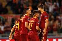 Roma's Cengiz Under, third from right, celebrates with his teammates after scoring during the Champions League football match between Roma and Viktoria Plzen at Rome's Olympic stadium, October 2, 2018.<br /> UPDATE IMAGES PRESS/Riccardo De Luca