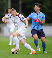 6th June 2014; Galway FC's Stephen Walsh with Mark Langtry of UCD. FAI Ford Cup - Round 2, UCD v Galway FC, UCD Bowl, Belfield, Dublin. Picture credit: Tommy Grealy/actionshots.ie.