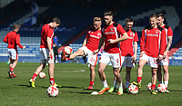 Fleetwood Town's Wes Burns during the pre-match warm-up <br /> <br /> Photographer Stephen White/CameraSport<br /> <br /> The EFL Sky Bet League One - Oldham Athletic v Fleetwood Town - Saturday 8th April 2017 - SportsDirect.com Park - Oldham<br /> <br /> World Copyright &copy; 2017 CameraSport. All rights reserved. 43 Linden Ave. Countesthorpe. Leicester. England. LE8 5PG - Tel: +44 (0) 116 277 4147 - admin@camerasport.com - www.camerasport.com