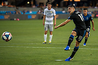 San Jose, CA - Tuesday June 11, 2019: Cristian Espinoza #10 scores from a penalty  during the US Open Cup match between the San Jose Earthquakes and Sacramento Republic FC at Avaya Stadium.
