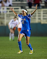 Ally Courtnall (42) of UCLA celebrates her goal during the Women's College Cup semifinals at WakeMed Soccer Park in Cary, NC. UCLA advance on penalty kicks after typing Virginia, 1-1 in regulation time.