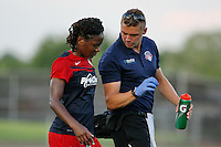 Piscataway, NJ - Saturday July 23, 2016: Pierre Soubrier, Francisca Ordega during a regular season National Women's Soccer League (NWSL) match between Sky Blue FC and the Washington Spirit at Yurcak Field.