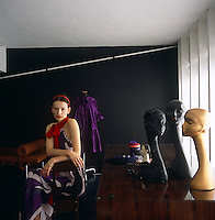 Fashion designer Roksanda Ilincic in her workroom wearing a dress of her own design